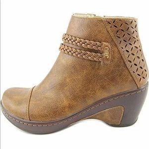 Jambu Vegan Leather Ankle Boots Memory Foam Braid